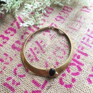 Monet Vintage Black Gold Slide Chocker Necklace